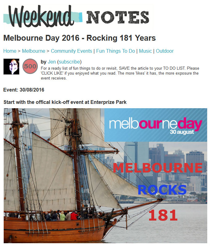 Melbourne Day on WeekendNotes.com