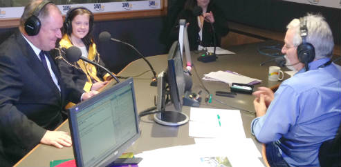 2013 Junior Lord Mayor Abigail Dinan, Lord Mayor Robert Doyle and 3AW radio host Neil Mitchell, right