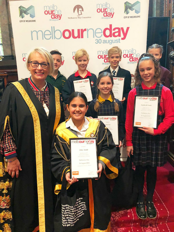 2018 Melbourne Day Junior Lord Mayor finalists with Lord Mayor Sally Capp