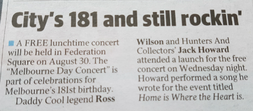 Melbourne Day in the Herald Sun 29 July 2016