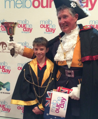 Junior Lord Mayor 2016 Mason Dwyer and town crier Ian Morrison