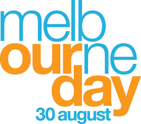 Melbourne Day logo stacked orange