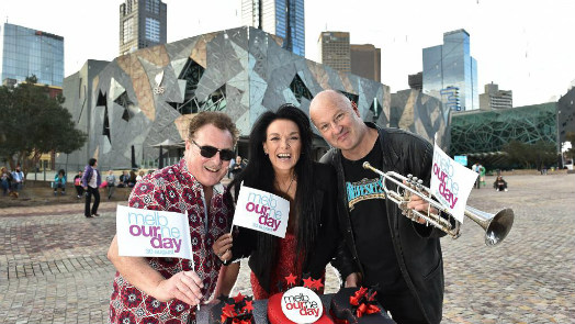 Ross Wilson, Lisa Edwards and Jack Howard prepare for Melbourne Day concert