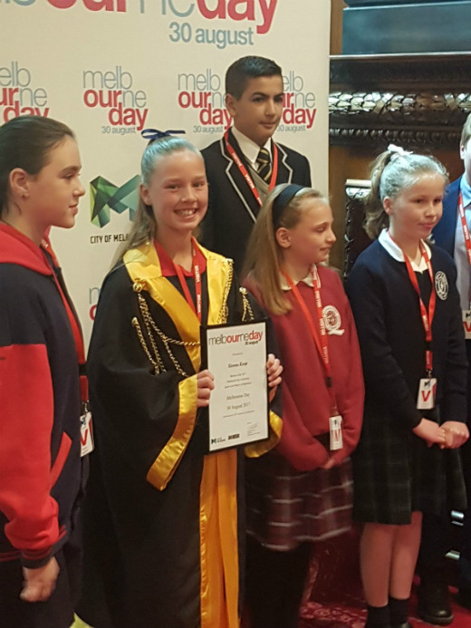 Sienna Koop, the 2017 Junior Lord Mayor of Melbourne