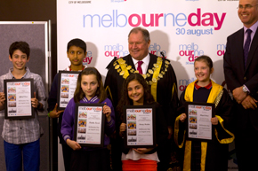 2013 Junior Lord Mayor Competition finalists with Lord Mayor Robert Doyle and Melbourne Day chairman Campbell Walker