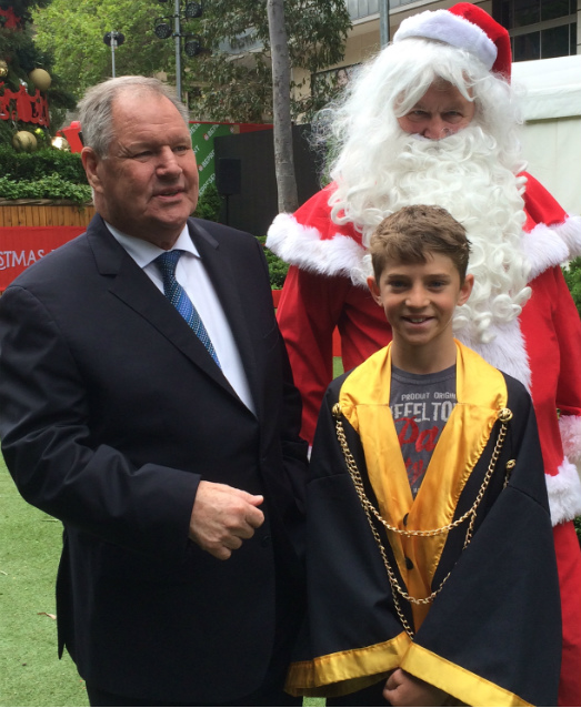 Santa, Junior Lord Mayor Mason Dwyer and Robert Doyle